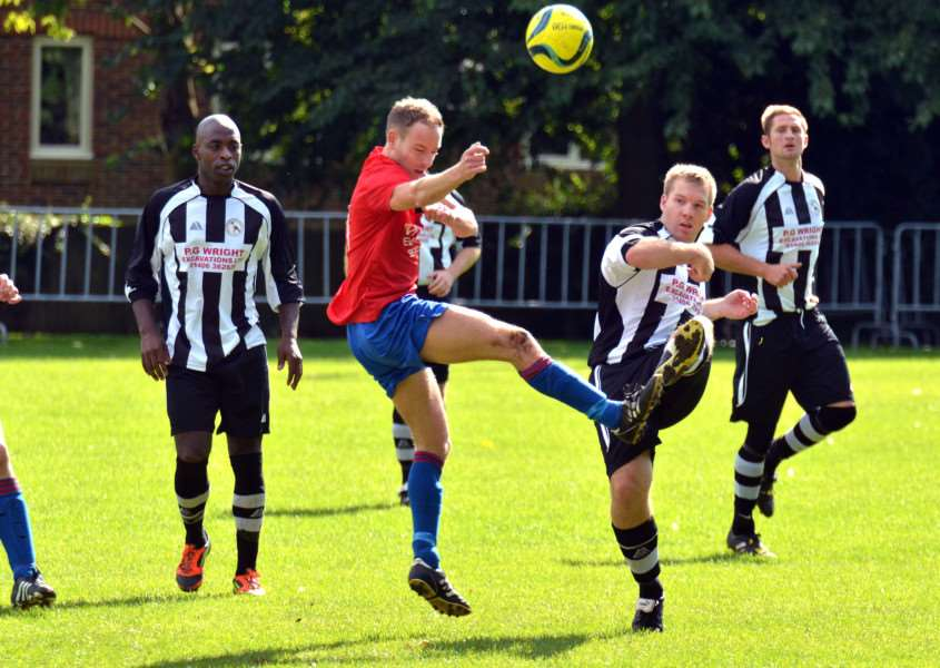 Long Sutton Athletic Football Club, London Road - first-half action v Stamford Lions ANL-150913-110729001
