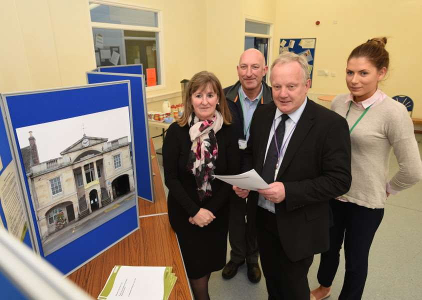 Consultation exhibition at Bourne youth centre for future plans of the Town Hall at Bourne. Councillors Stuart Tweedale and Sue Woolley from LCC with Paul Drury and Amy Potts from the council's community engagement team EMN-151013-162305009