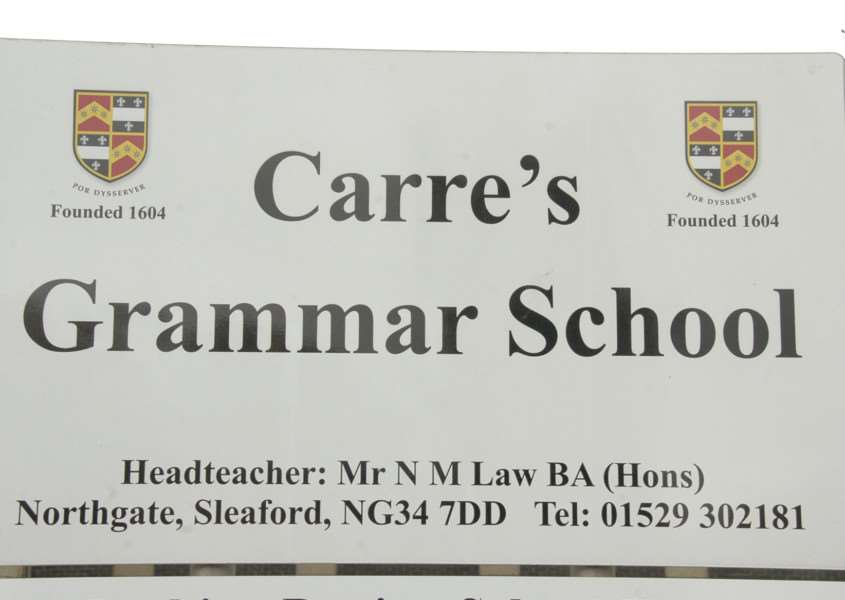 Carres Grammar School sign.
