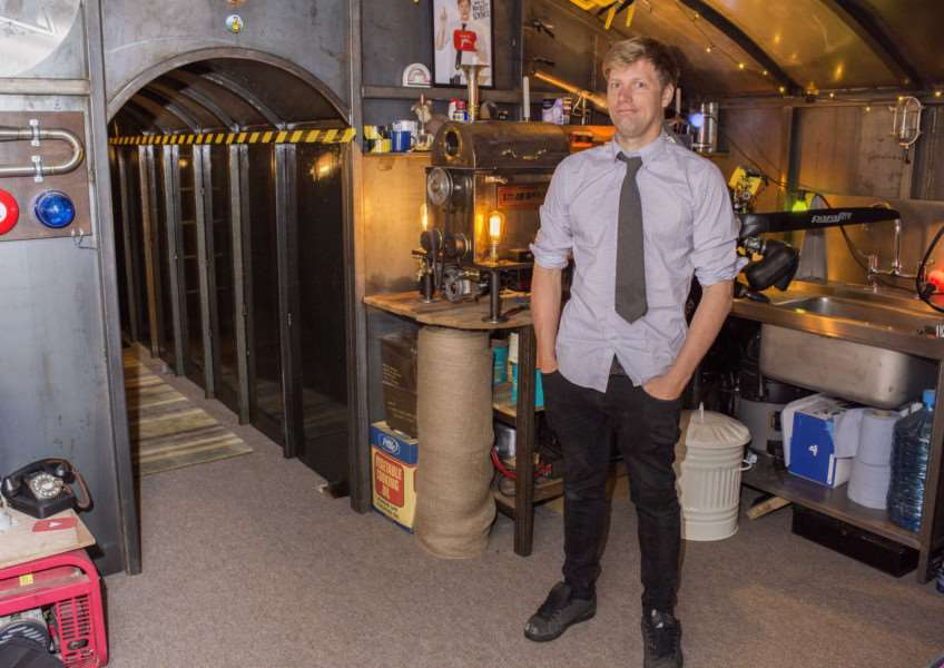 Inventor Colin Furze inside his bunker
