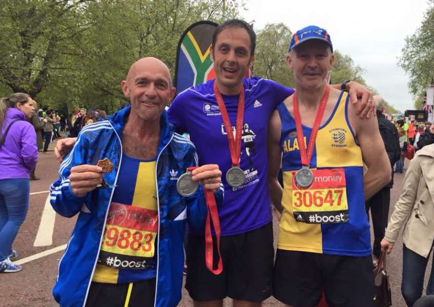 Jim Morris, James Skinner and Alan Hayes from local running club Stamford Striders. EMN-150428-133227001