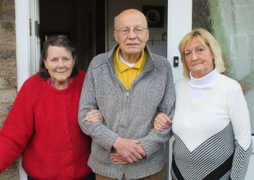 Christine and Harry Coleman are pictured with neighbour Margaret Jackson, right, in Lammas Close, Braunston