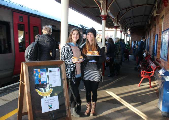 Fairtrade Fortnight at Oakham Railway Station 2015. Michaela Skodova and Chelsey Wilson are pictured on platform one. EMN-150225-141516001