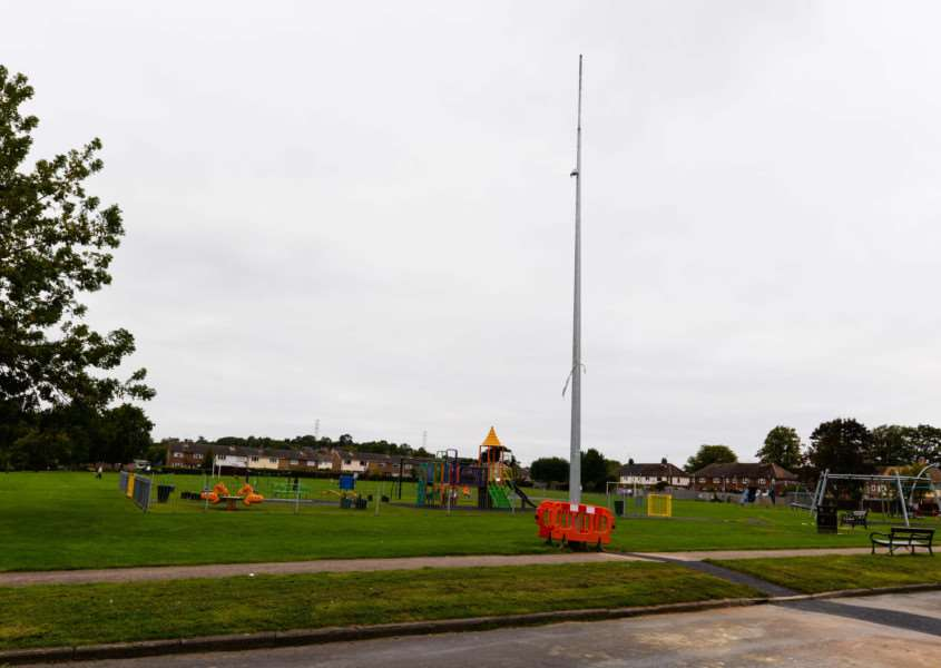 A new CCTV pole installed by Rutland County Council on Royce Recreation Ground in Oakham. EMN-150909-092657001