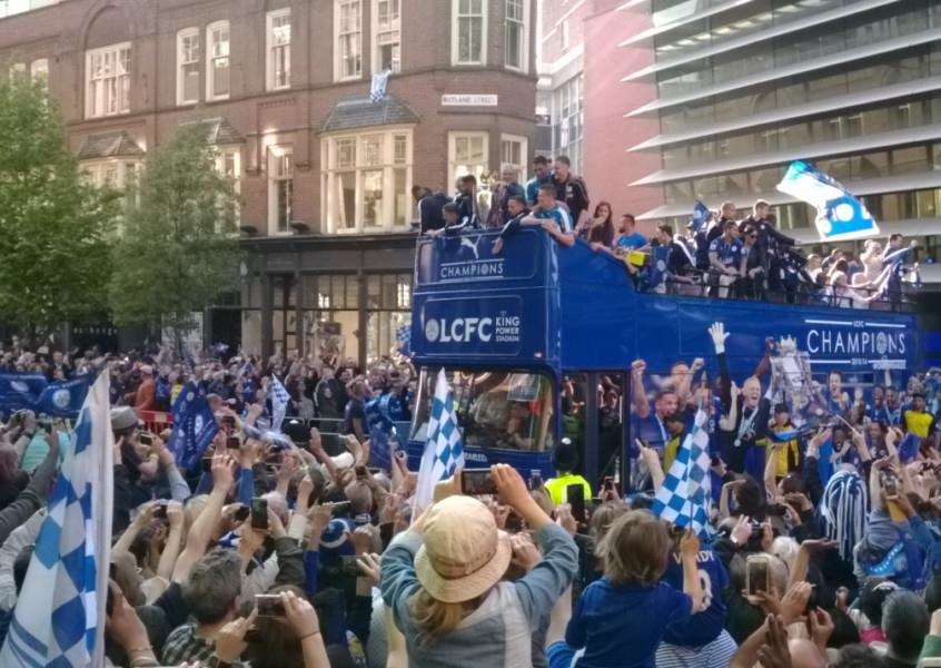 Leicester City's victory parade makes its way along Rutland Street in the city EMN-160519-132604001