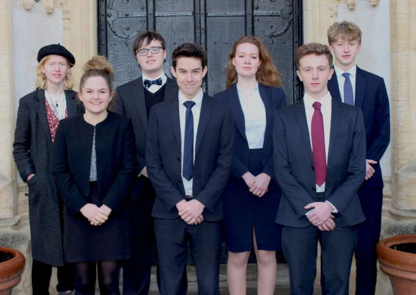 Oakham School pupils who have won places to Oxford University and Cambridge University. Submitted.