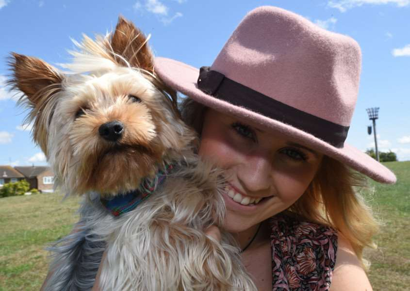 Dog show at Thackers Way Market Deeping. Amy Just with her dog Teddy EMN-150719-220156009