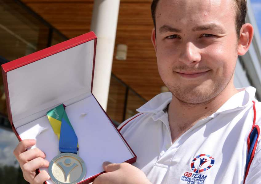 Oakham basketball player Chris Southwell with the gold medal he won as part of Team GB in the 2015 Special Olympics.''Photo: Alan Walters MSMP-27-08-15-aw001 EMN-150109-155138001