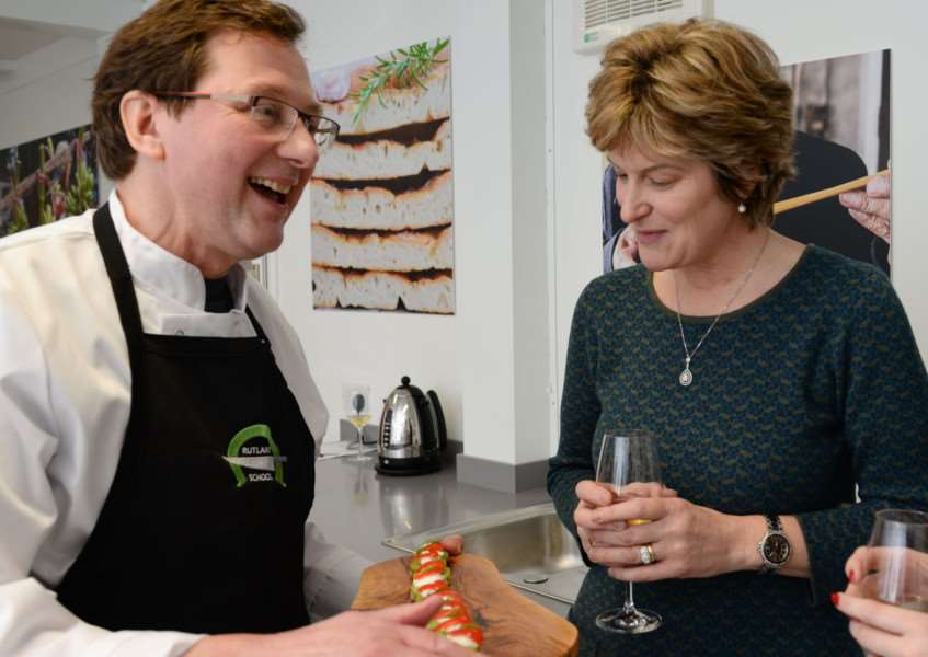 Owner of the Rutland Cookery School Robin Stewart chats to Jackie Johnson at the launch party 'Photo: Alan Walters
