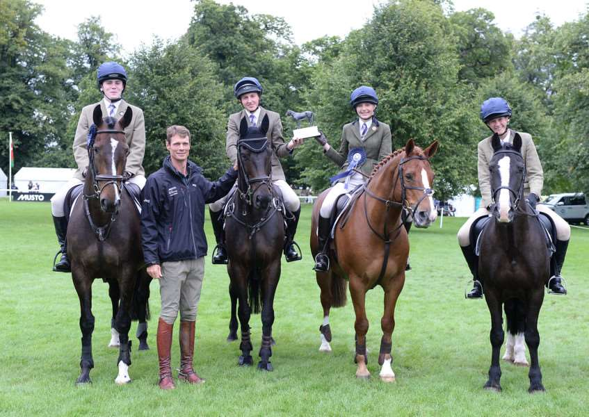 Puckeridge Hunt PC winners of The Harewood Trophy for the best turned out Pony Club Team during the PC Team Jumping at The Land Rover Burghley Horse Trials near Stamford in Lincolnshire, UK, on 2nd September 2015 EMN-150509-111818001