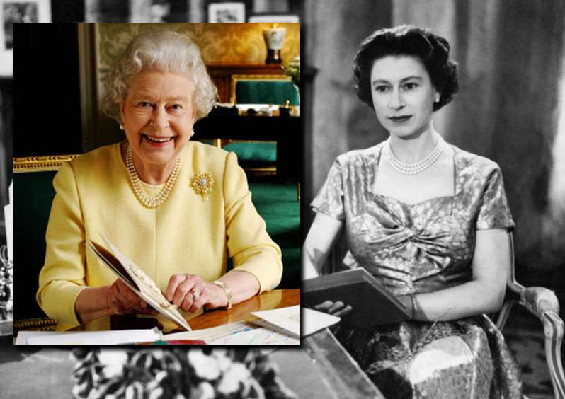 The Queen during her first televised Christmas speech, and on her 80th birthday (inset). Images: PA