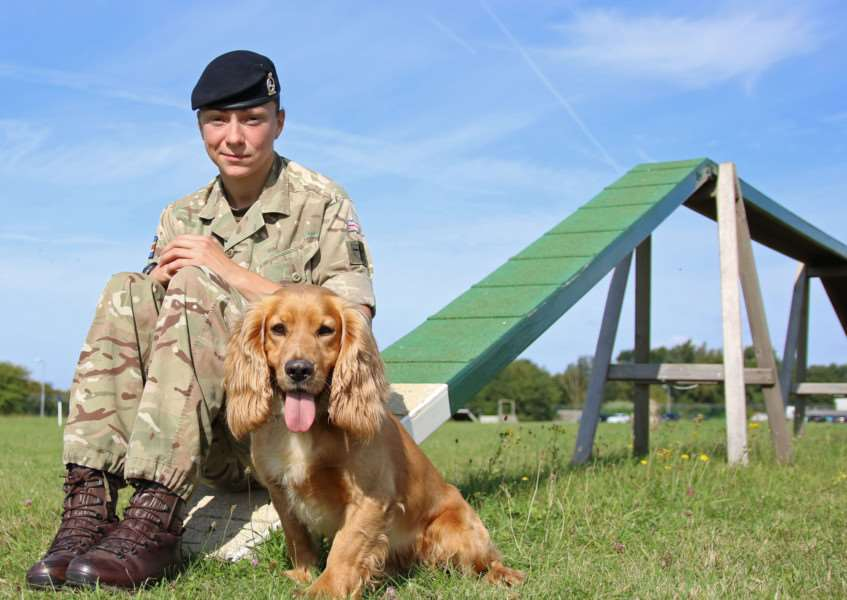 Lance corporal Laura Howarth with explosive search dog Sam