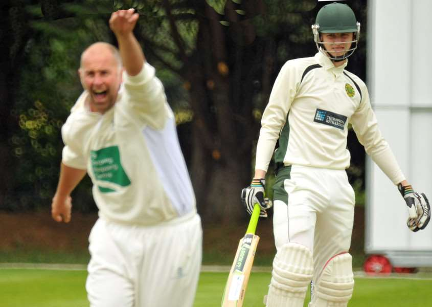 Lee Peacock appeals for a wicket during Market Deeping's nine run defeat to Boston. Photo: Tim Wilson.
