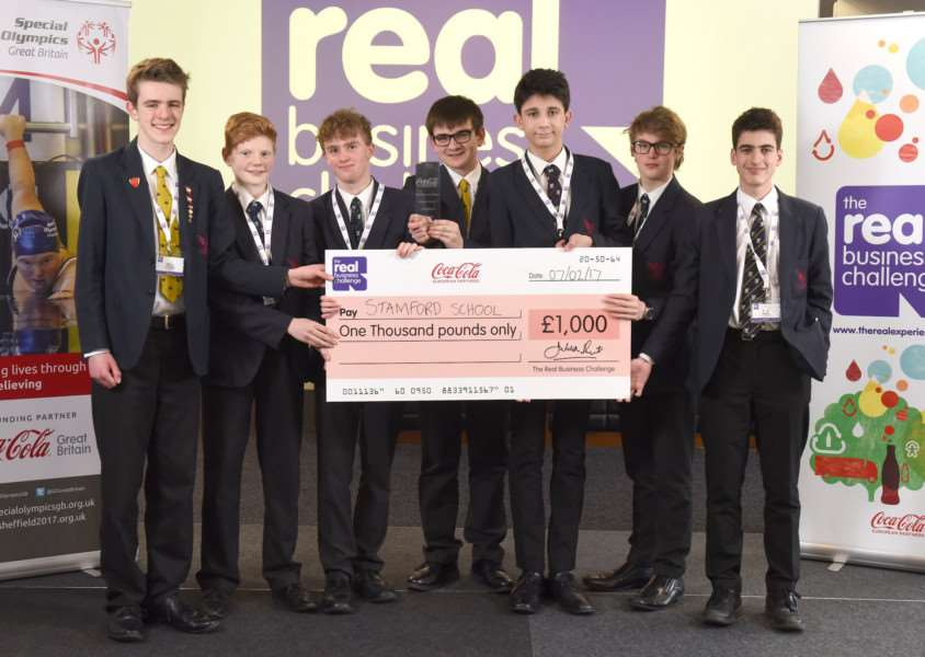 CCE Coca Cola Enterprises' 'Real Business Challenge 2016/17 West Midlands Regional Finals held at the Pride Park Stadium, Derby. ''Pictured: Winners Stamford School