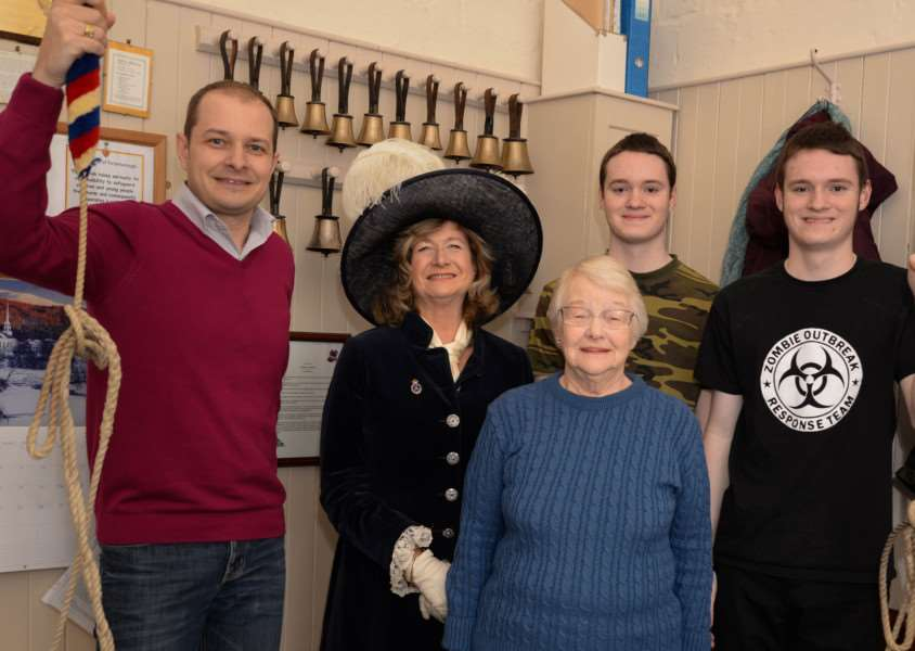 Tower Captain Louis Totaro, High Sheriff Dr Sarah Furness, Peggy Jennings who has been ringing for 66 years and Caleb and Joshua Tomalin who have both been ringing for one year