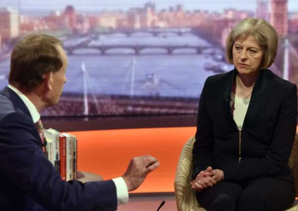 Home Secretary Theresa May (right) speaking with Andrew Marr while appearing on BBC One's The Andrew Marr Show. Photo: PRESS ASSOCIATION?