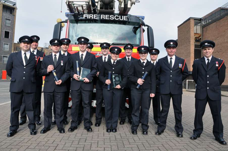 Watch Manager Dan Hill, WM Chris Warwick; Firefighter Adam Self (Lincoln North); FF Gareth Laking (Louth); FF Kieran Rose (Donington); FF Andrew Hall (Grantham); FF Lee Jaines (Louth); FF Natalie Oliver (Saxilby); FF Steven Murray (Spilsby); FF Leah Chapman (Market Deeping); WM Neil Johnson; WM Rob Castle