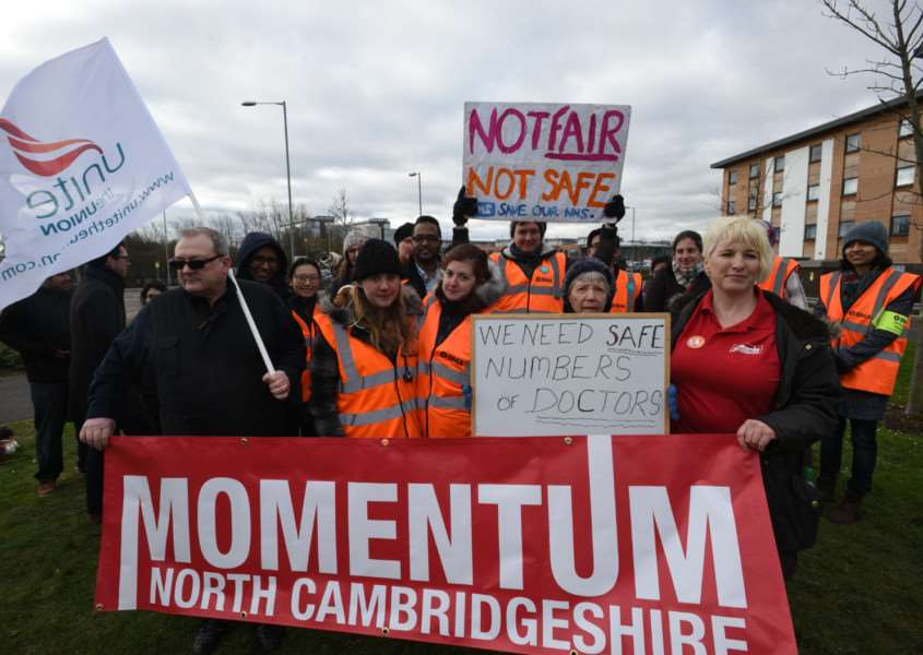 A recent junior doctors' strike outside Peterborough City Hospital