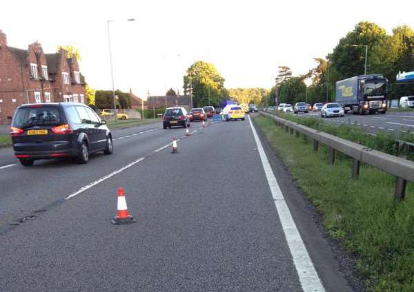The scene on the A1 Great Ponton this evening