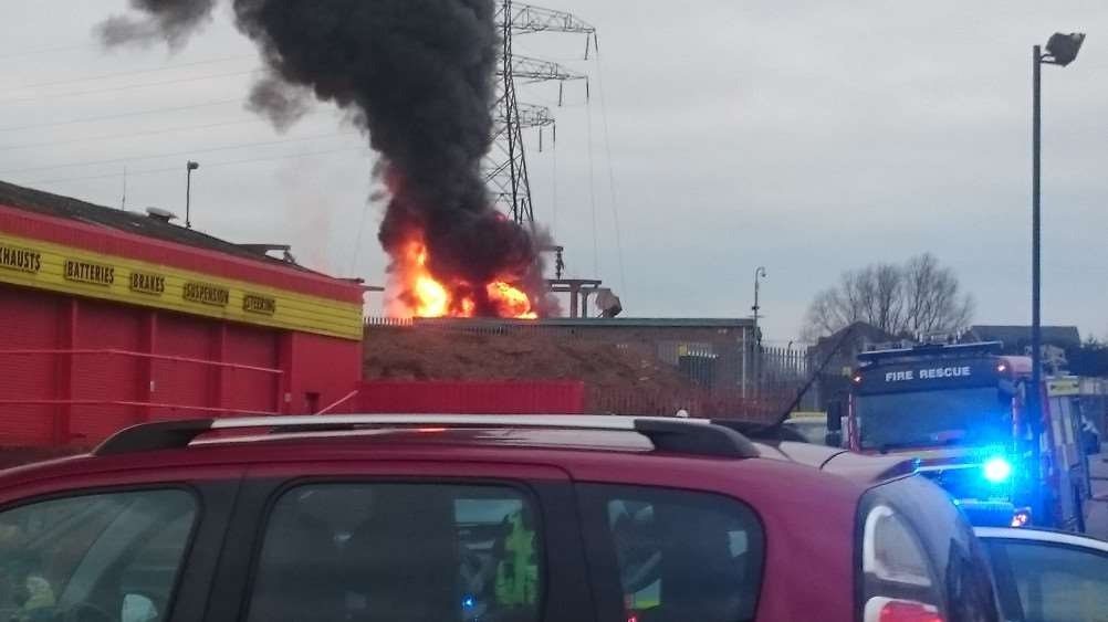 The fire at Grantham's sub-station by the railway line from London Road.
