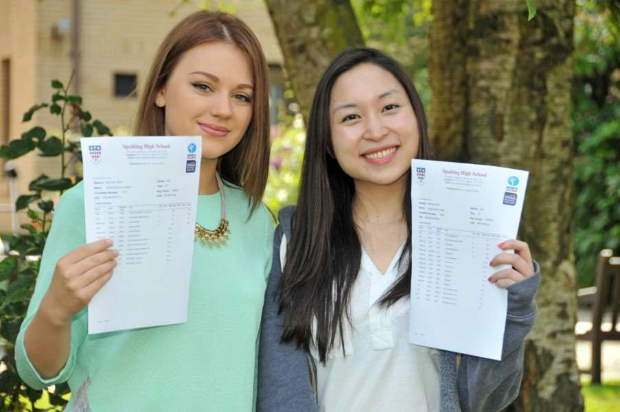 Eloise Lawton and Juliana Yusuf celebrate good results in 2014
