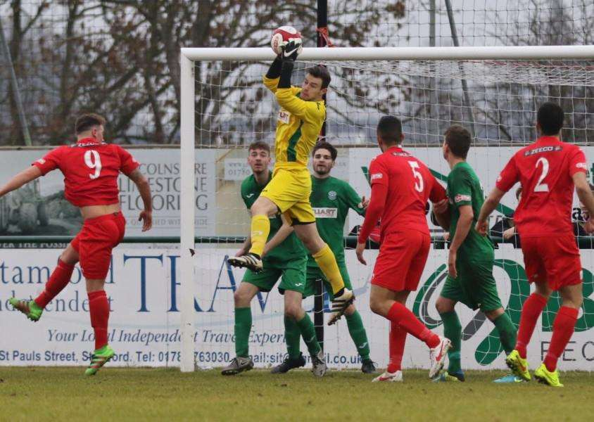 Action from Stamford AFC v Bedworth United. Photo: Geoff Atton