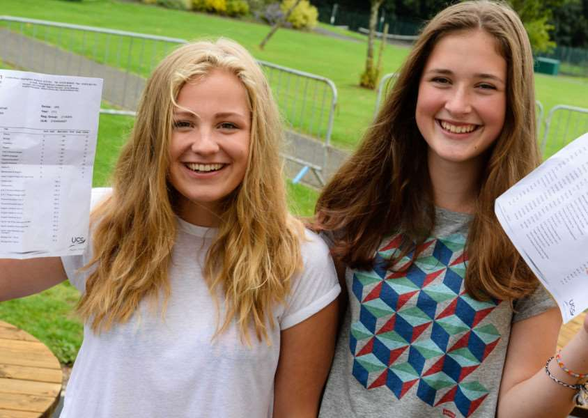 GCSE results day at Uppingham Community College. Nieves Garratt (1A*,5A) Lizzie Hulse (4.5A*,4A). Photo: Alan Walters MSMP-20-08-15aw005 EMN-150820-114352001