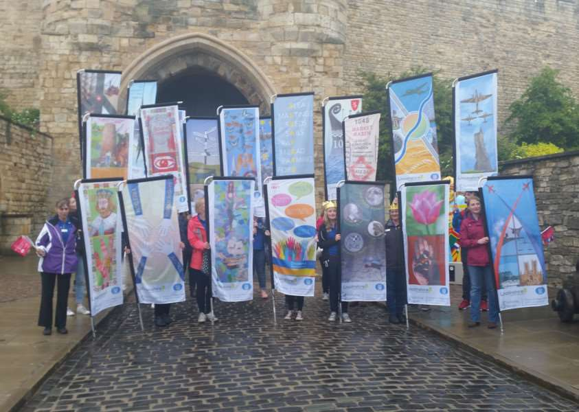 The flags on display outside the newly re-opened Lincoln Castle before heading to the county show today.