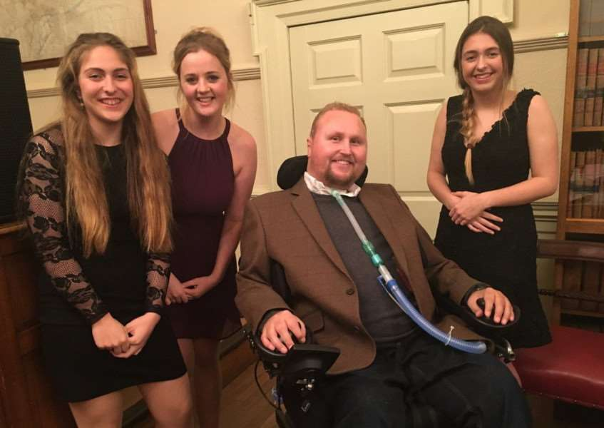 Wildcasts Academy students Jessica Auciello, Charlotte Smith and Rimini Auciello are pictured with Matt Hampson during his talk at Stamford Town Hall
