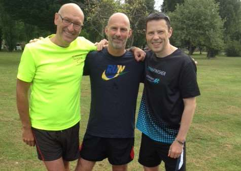 Running pals (from left) Mark Wade, Niall Quinlan and Brian Eagle-Brown in training for Equinox. ANL-160309-143558001