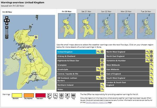 Met Office have issued a range of snow and wind warnings for this weekend