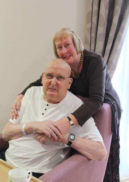 Elaine and David Laraman. David was one of the first patients to move into the new Thorpe Hall Hospice EMN-150807-125246001
