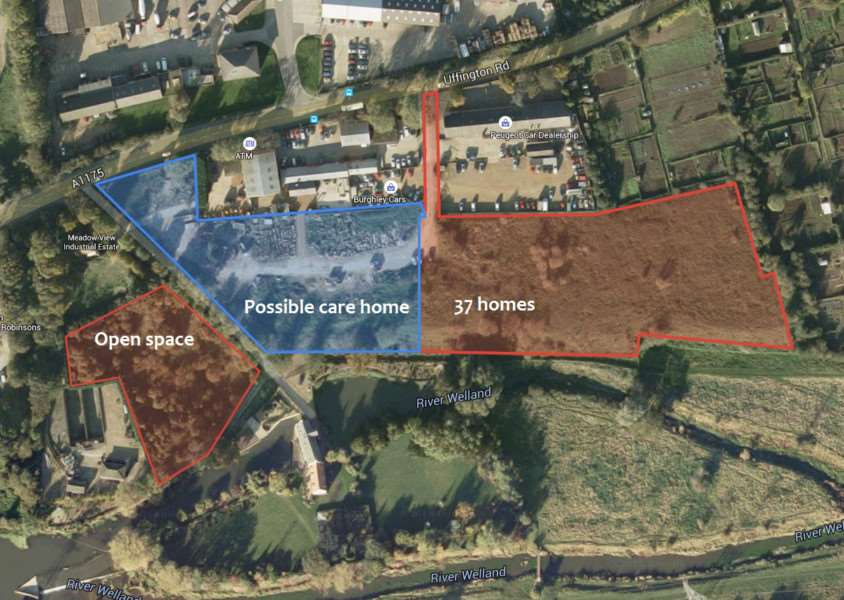 The location of William May Developments' plan for 37 homes off Uffington Road in Stamford (red). Plans for a care homes/assisted living development (blue) are likely to be submitted in August. Photo: Google EMN-150722-120800001