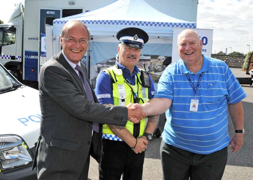 Lincolnshire Police and Crime Commissioner Alan Hardwick meets PCSO Colin Abbotts and volunteer Clarke Converse at a community engagement roadshow near Spalding. Photo by Tim Wilson.