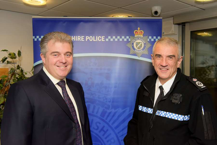 Minister for Policing, Brandon Lewis, with Lincolnshire's Chief Constable Neil Rhodes.