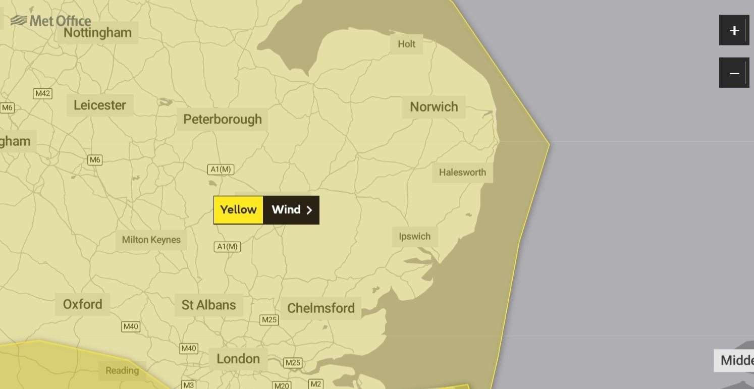 The Met Office has issued a yellow warning for wind across the area this weekend