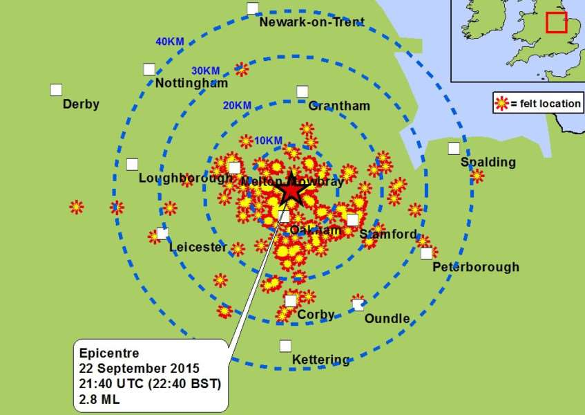 A British Geological Survey map showing where an earthquake was felt in and around Rutland on September 22, 2015. EMN-150923-105016001