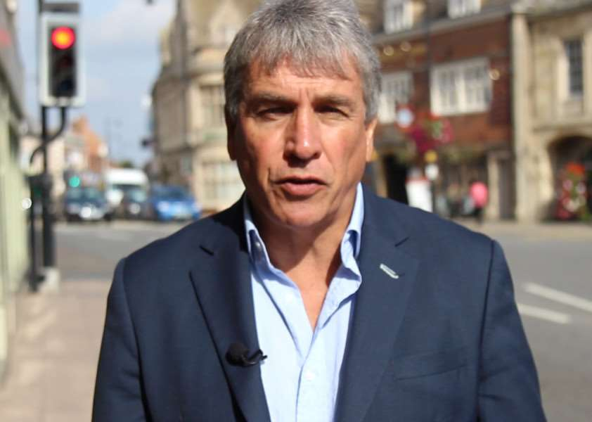 TV sports presenter John Inverdale in North Street, Bourne, to promote the town and South Kesteven.