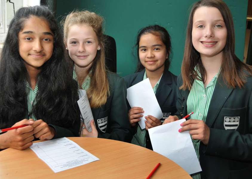 Floating voters and undecided students at Bourne Grammar School are Subidhi Khatiwad, Erin Helliwell, Arshiya Kharel and Martha Sinfield. Photo by Tim Wilson.