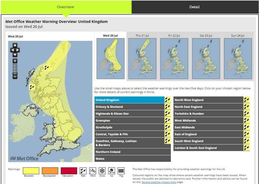 The extended Met Office weather warning for Wednesday July 20