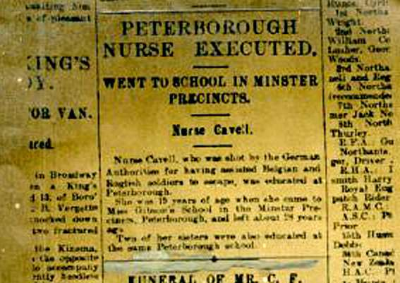 The news of Edith Cavell's death was first reported at the time.