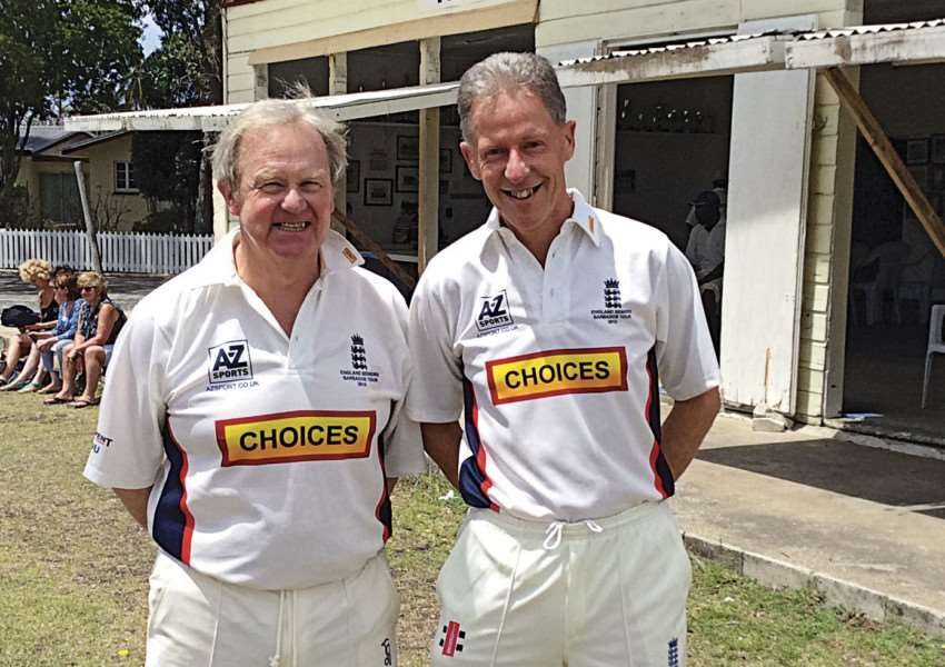 Nick Andrews (right) has been selected to play for England Under 60s against Scotland and Australia. Andrews is pictured with England team-mate Stuart Unwin.
