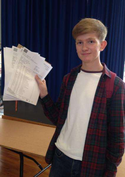 Sam Hare, from Bourne Academy with his GCSE results EMN-150820-105337001