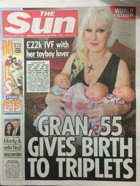 Boston Gran Sharon Cutts on the front of The Sun