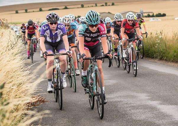 Bourne's Jessica Woodworth on the front of the bunch at last year's National Championships. She will be one of the favourites for this year's race in July that the Wheelers will be promoting.