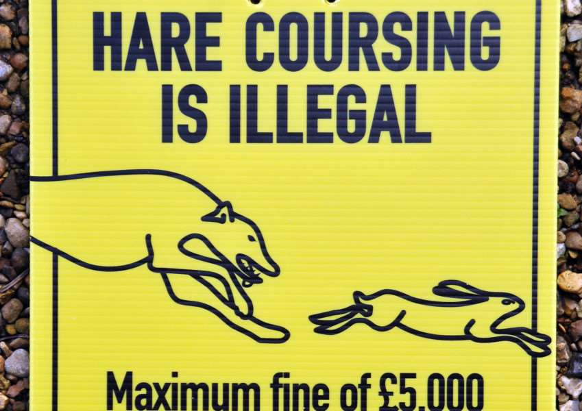 Hare coursing signs hand-out to Crowland Farmer Rex Sly.