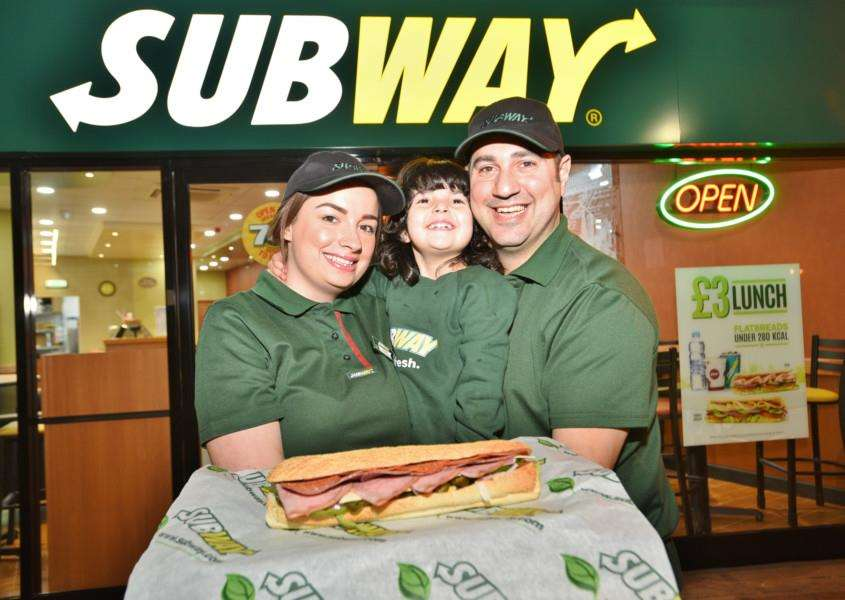 Costa, Katie and Christina (daughter) Georgiou at their Subway in Bourne EMN-151116-230334009