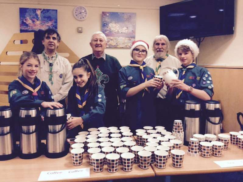 1st Bourne Scouts and 2nd Stamford Scouts serve coffee at the Messiah interval. Greg Cejer, Roy Miskelly and Paul Mead are pictured at the back