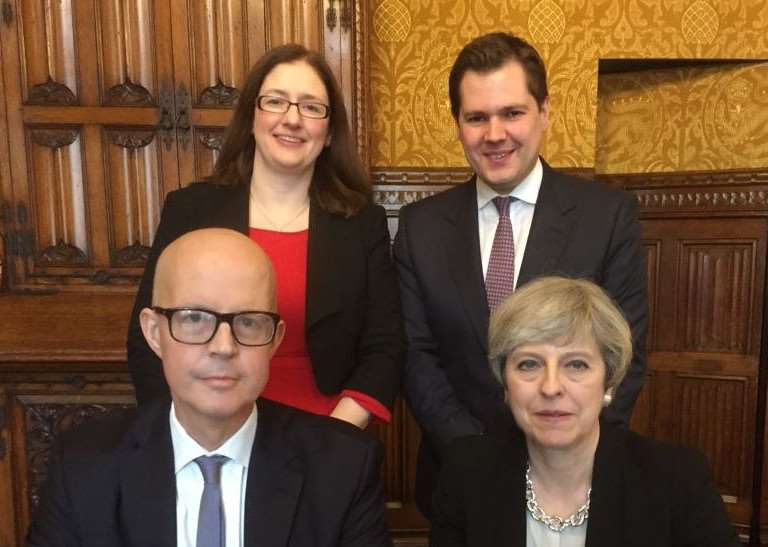 MP for Grantham and Stamford Nick Boles with Prime Minister Theresa May.