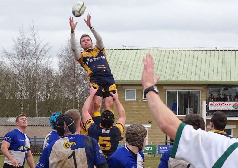 Adams Binns claims a line-out for Bourne in their victory at Brackley on Saturday.